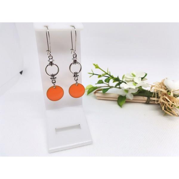 Kit boucles d'oreilles connecteur et sequin émail orange - Photo n°1