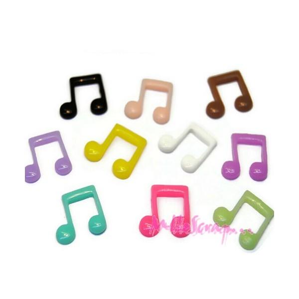 Cabochons petites notes de musique résine multicolore - 10 pièces - Photo n°1