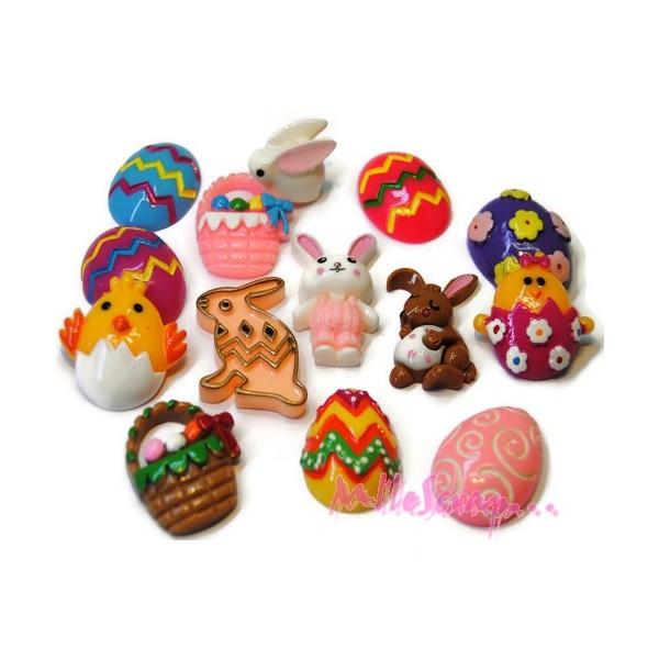 Cabochons lapins, œufs, pâques résine multicolore - 14 pièces - Photo n°1