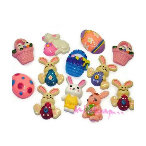 Cabochons lapins, œufs, pâques résine multicolore - 12 pièces - Photo n°1