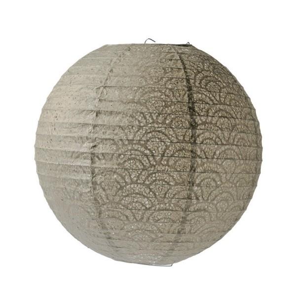 Lanterne Japonaise, Lampion boule Gris Taupe en Papier perforé dentelle, 35 cm - Photo n°1
