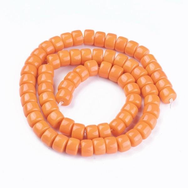 Perles en verre colonne 8 mm orange x 20 - Photo n°2
