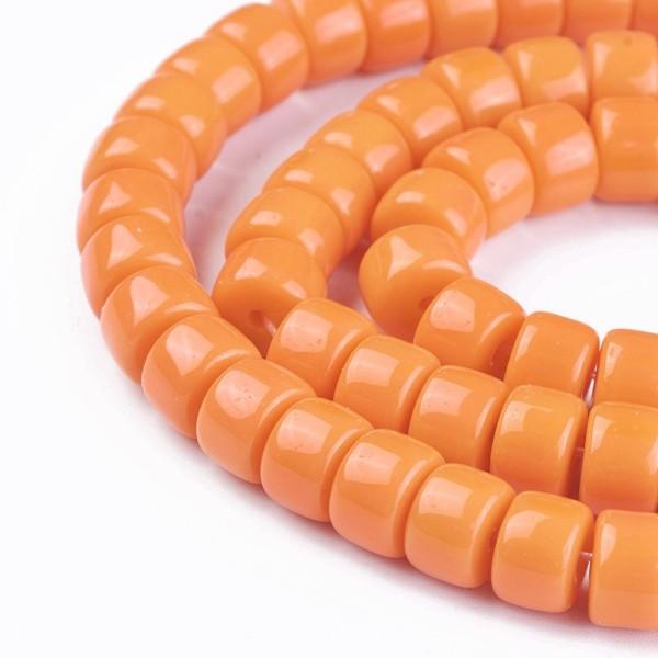 Perles en verre colonne 8 mm orange x 20 - Photo n°1
