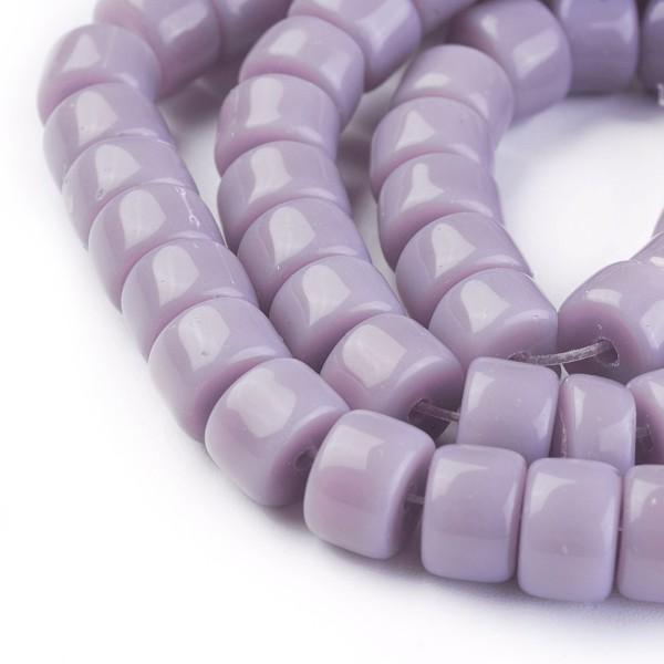 Perles en verre colonne 8 mm lilas x 20 - Photo n°1