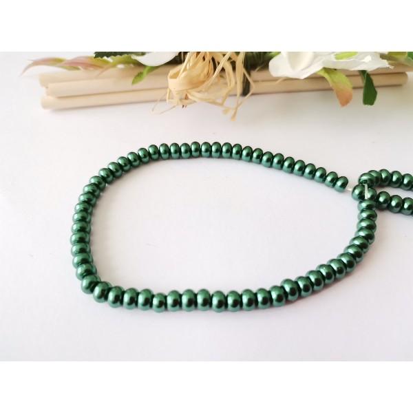 Perles en verre nacré rondelle 5 x 3 mm vert foncé x 20 - Photo n°2
