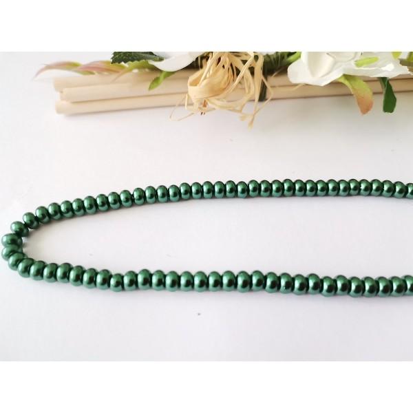 Perles en verre nacré rondelle 5 x 3 mm vert foncé x 20 - Photo n°1