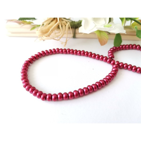Perles en verre nacré rondelle 5 x 3 mm rouge bordeaux x 20 - Photo n°2