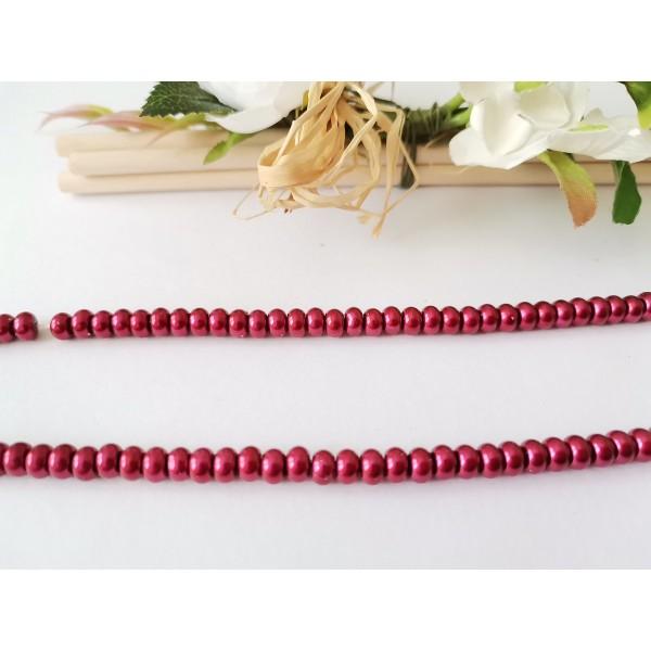 Perles en verre nacré rondelle 5 x 3 mm rouge bordeaux x 20 - Photo n°1