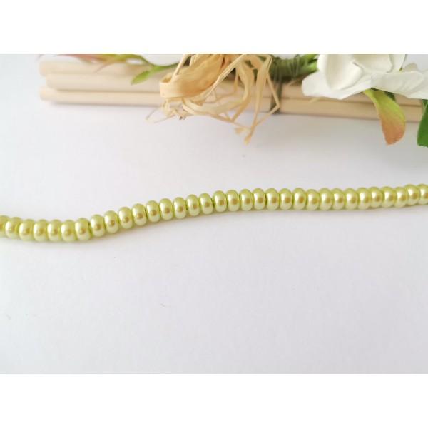 Perles en verre nacré rondelle 5 x 3 mm vert anis x 20 - Photo n°2