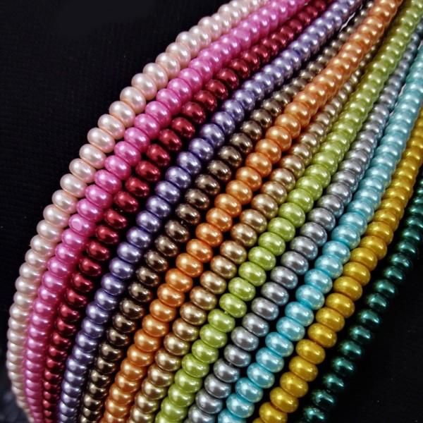 Perles en verre nacré rondelle 5 x 3 mm vert anis x 20 - Photo n°3