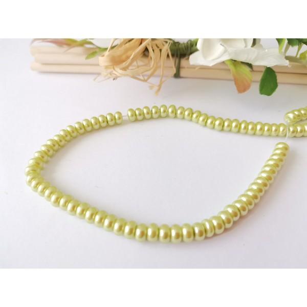 Perles en verre nacré rondelle 5 x 3 mm vert anis x 20 - Photo n°1