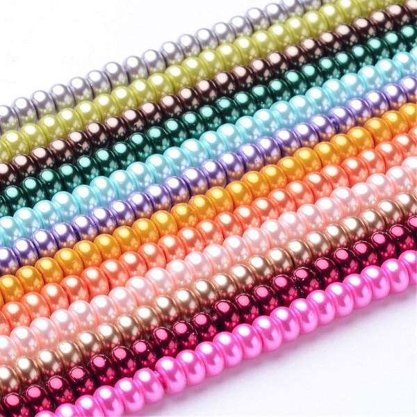 Perles en verre nacré rondelle 5 x 3 mm rose pale x 20 - Photo n°2