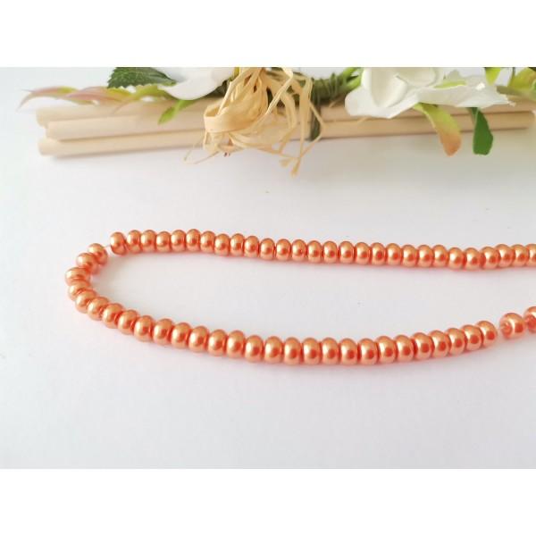 Perles en verre nacré rondelle 5 x 3 mm orange x 20 - Photo n°1