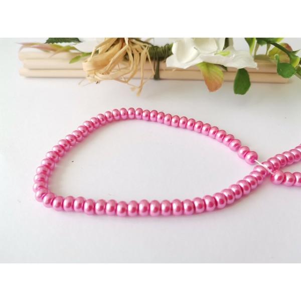 Perles en verre nacré rondelle 5 x 3 mm rose x 20 - Photo n°2