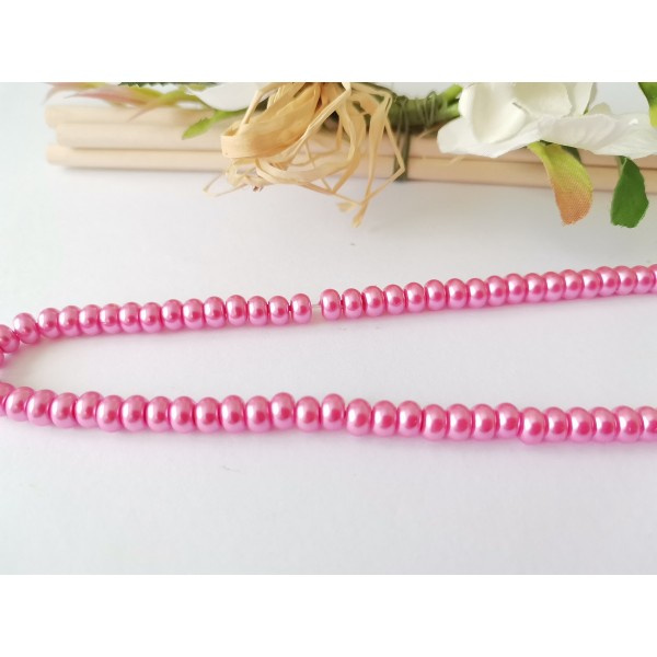 Perles en verre nacré rondelle 5 x 3 mm rose x 20 - Photo n°1