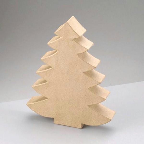 Petit Sapin de Noël en papier mâché, Haut. 25 x 20 x 3,5cm, à customiser - Photo n°1