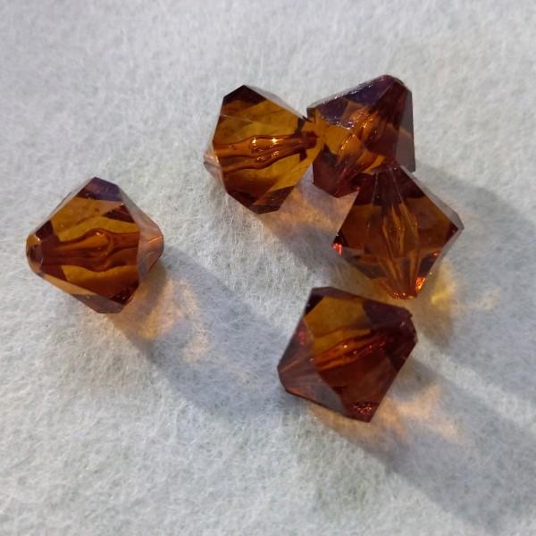 Perles x5 en résine orange transparent, 2cm - Photo n°1
