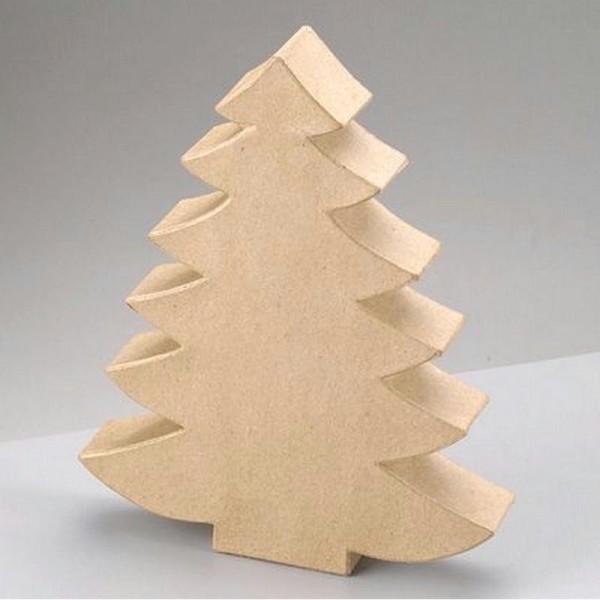 Grand Sapin de Noël en papier mâché, Haut. 30 x 23,5 x 4 cm, à customiser - Photo n°1