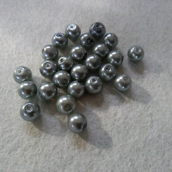Vingt cinq perles gris argenté en résine, 5mm - Photo n°1