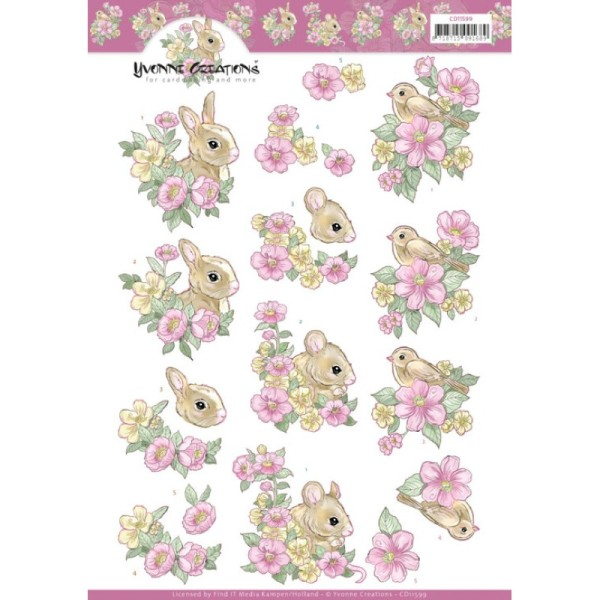 Carte 3D à découper - CD11599 - Fleurs roses et petits animaux - Photo n°1