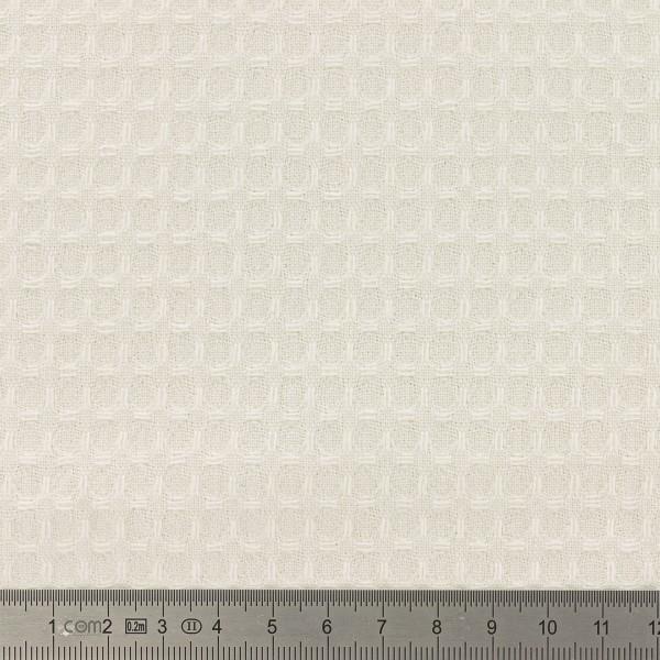 Tissu éponge en nid d'abeille - Ecru - Par 10 cm (sur mesure) - Photo n°2