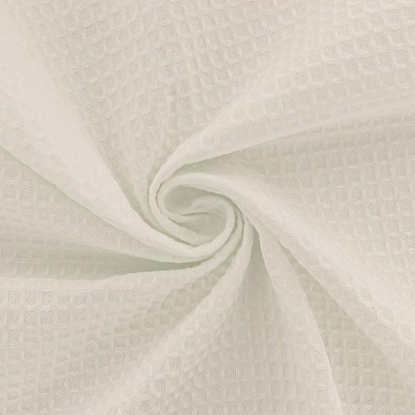 Tissu éponge en nid d'abeille - Ecru - Par 10 cm (sur mesure) - Photo n°3