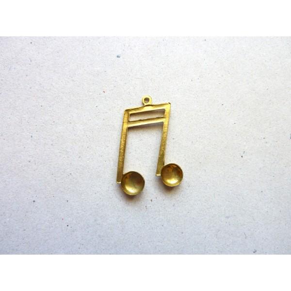 Pendentif Note De Musique Vintage 50's En Laiton - Photo n°2