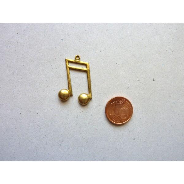 Pendentif Note De Musique Vintage 50's En Laiton - Photo n°3