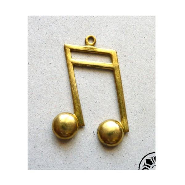 Pendentif Note De Musique Vintage 50's En Laiton - Photo n°1