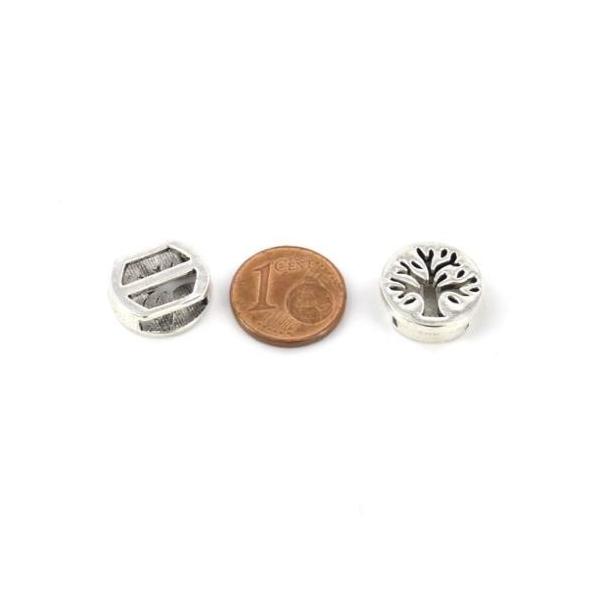 5 Perles Passant Arbre De Vie En Métal Argenté Pour Lanière De 10mm - Photo n°2