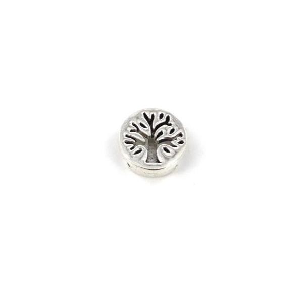 5 Perles Passant Arbre De Vie En Métal Argenté Pour Lanière De 10mm - Photo n°3