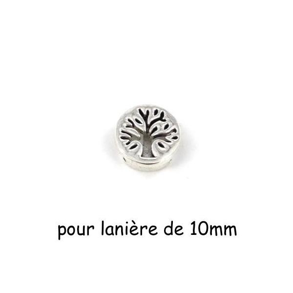 5 Perles Passant Arbre De Vie En Métal Argenté Pour Lanière De 10mm - Photo n°1