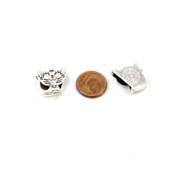 3 Perles Passant Chat En Métal Argenté Pour Lanière Cuir De 12mm Ou Plusieurs Cordons - Photo n°2