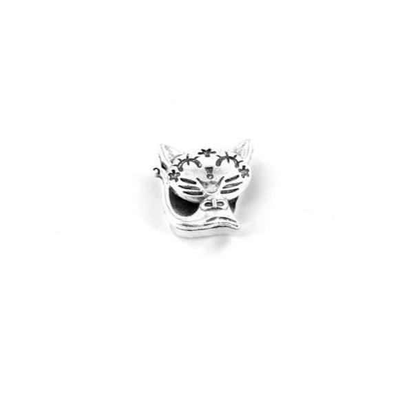 3 Perles Passant Chat En Métal Argenté Pour Lanière Cuir De 12mm Ou Plusieurs Cordons - Photo n°3