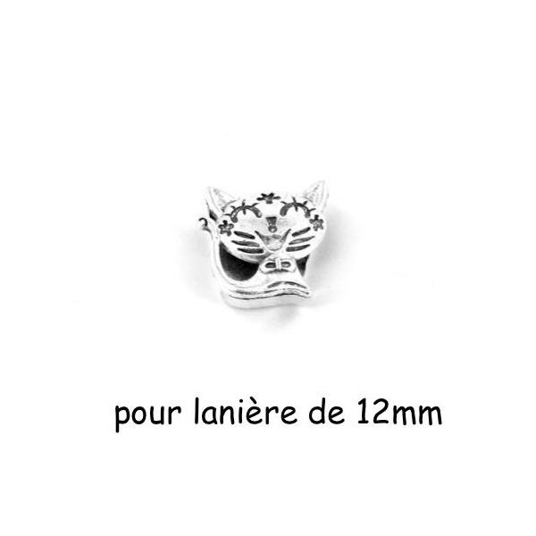 3 Perles Passant Chat En Métal Argenté Pour Lanière Cuir De 12mm Ou Plusieurs Cordons - Photo n°1