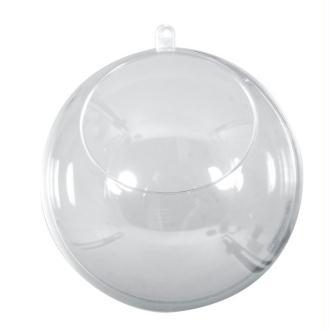 Boule diam 10cm avec ouverture diam 6cm en plastique cristal transparent séparable