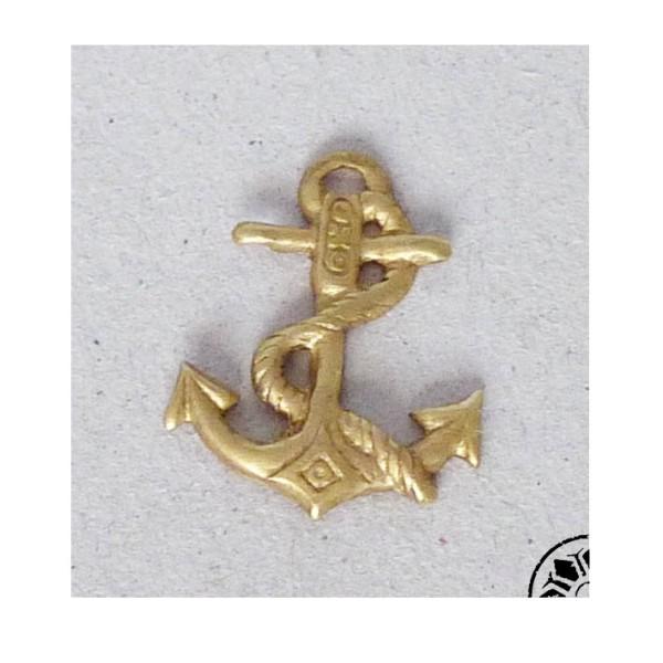 Cabochon, Pendentif, Ancre Marine Vintage Années 60-70 En Laiton Doré - Photo n°1