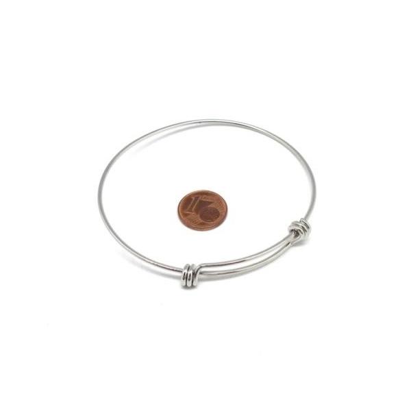 1 Jonc Bracelet Argenté En Acier Inoxydable À Agrémenter, Bangle 70mm - Photo n°2