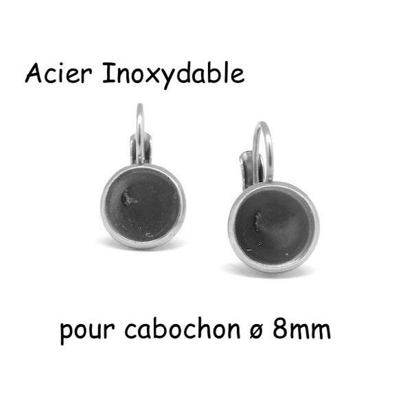 Boucles D'oreilles Dormeuse Pour Cabochon De 8mm En Acier Inoxydable Argenté - 1 Paire - Photo n°1