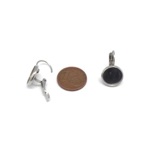 Support Boucles D'oreilles Dormeuse Pour Cabochon De 10mm En Acier Inoxydable Argenté - 1 Paire - Photo n°2