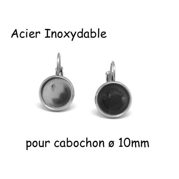 Support Boucles D'oreilles Dormeuse Pour Cabochon De 10mm En Acier Inoxydable Argenté - 1 Paire - Photo n°1