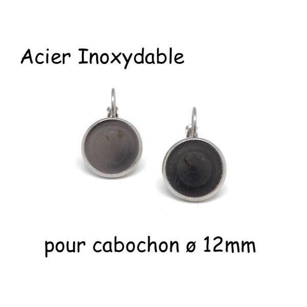 Boucles D'oreilles Dormeuse Pour Cabochon De 12mm En Acier Inoxydable Argenté - 1 Paire - Photo n°1