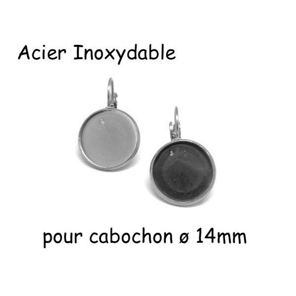 Boucles D'oreilles Dormeuse Argenté Pour Cabochon De 14mm En Acier Inoxydable  - 1 Paire - Photo n°1