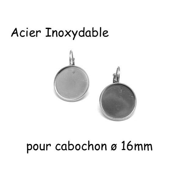 R-support Boucles D'oreilles Dormeuse Argenté Pour Cabochon De 16mm En Acier Inoxydable - 1 Paire - Photo n°1