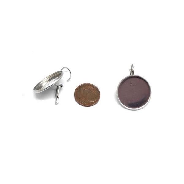 Boucles D'oreilles Dormeuse Pour Cabochon De 20mm En Acier Inoxydable Argenté - 1 Paire - Photo n°2