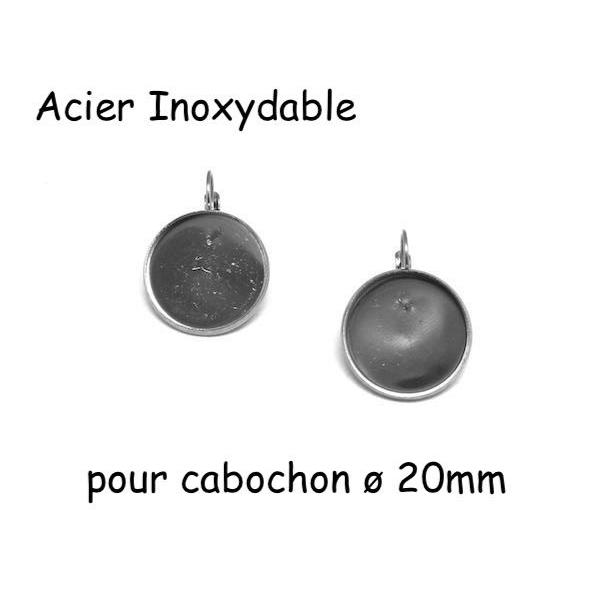 Boucles D'oreilles Dormeuse Pour Cabochon De 20mm En Acier Inoxydable Argenté - 1 Paire - Photo n°1