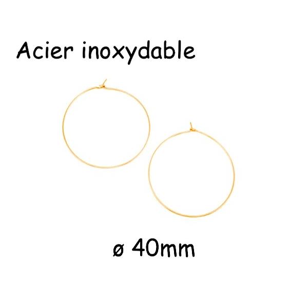 4 Créoles Doré Fine 40mm En Acier Inoxydable - 2 Paires - Photo n°1
