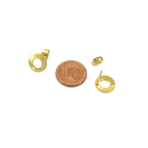 2 Clous Puce De Boucles D'oreilles En Acier Inoxydable Doré Forme Sequin Évidé 10mm - Photo n°2