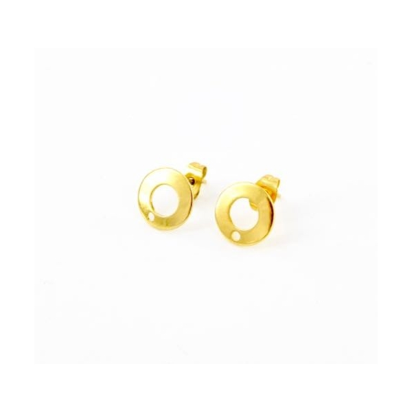 2 Clous Puce De Boucles D'oreilles En Acier Inoxydable Doré Forme Sequin Évidé 10mm - Photo n°3