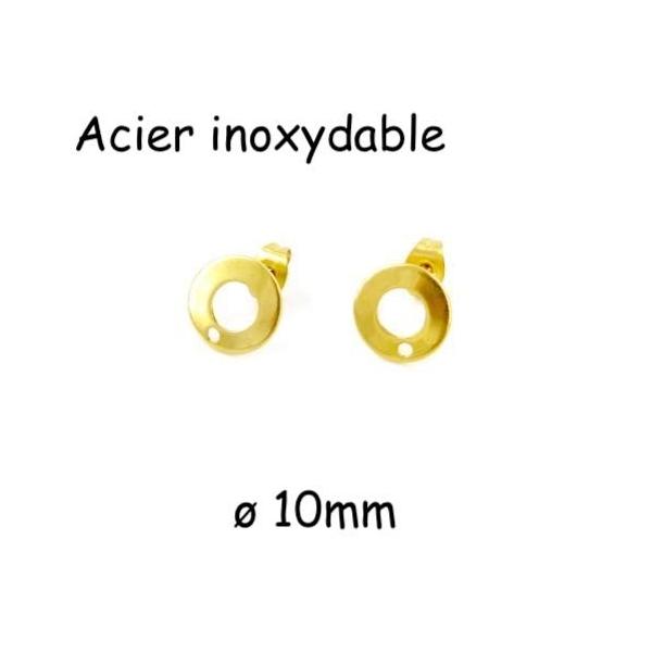 2 Clous Puce De Boucles D'oreilles En Acier Inoxydable Doré Forme Sequin Évidé 10mm - Photo n°1
